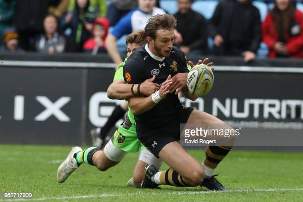 Josh Bassett of Wasps touches down for the fifth try but it is latter dissallowed during the Aviva Premiership match between Wasps and Northampton...