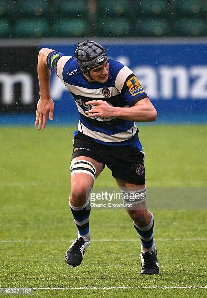 Josh Bayliss of Bath during the Premiership Rugby/RFU U18 Academy Finals Day match between Leicester and Bath at The Allianz Park on February 16 2015...