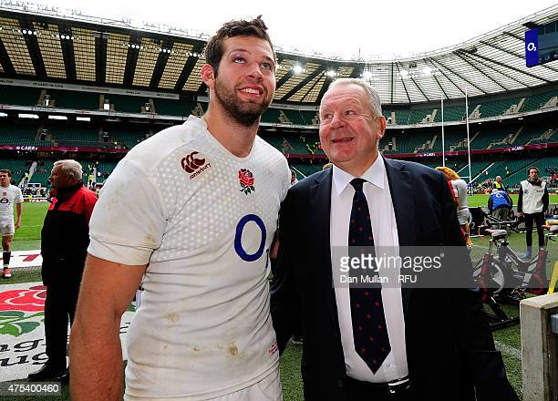 Josh Beaumont of England poses alongside his father Bill Beaumont during the Rugby Union International Match between England and The Barbarians at...