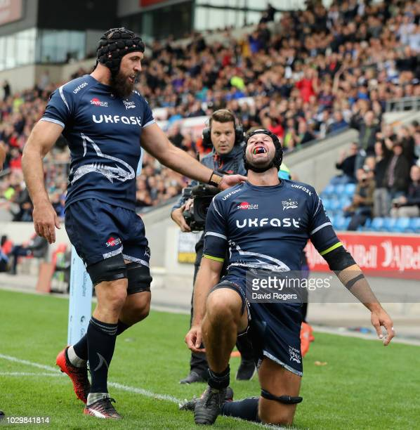 Josh Beaumont of Sale Sharks celebrates after scoring the first try during the Gallagher Premiership Rugby match between Sale Sharks and Worcester...