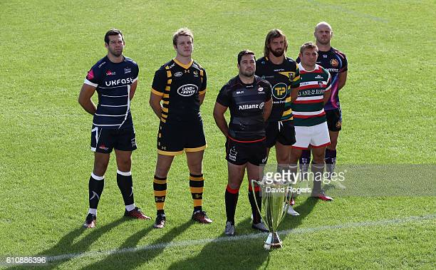 Josh Beaumont of Sale Sharks Joe Launchbury of Wasps Brad Barritt of Saracens Tom Wood of Northampton Saints Tom Youngs of Leicester Tigers and Jack...