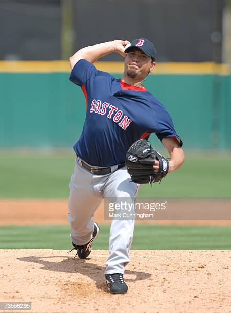 Josh Beckett of the Boston Red Sox pitches during the game against the Detroit Tigers at Joker Marchant Stadium in Lakeland Florida on March 10 2007...