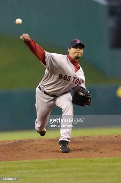 Josh Beckett of the Boston Red Sox pitches during the game against the Kansas City Royals at Kauffman Stadium on April 4 2007 in Kansas City Missouri...