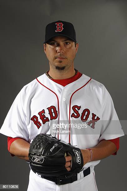 Josh Beckett of the Boston Red Sox poses during photo day at the Red Sox spring training complex on February 24, 2008 in Fort Myers, Florida.