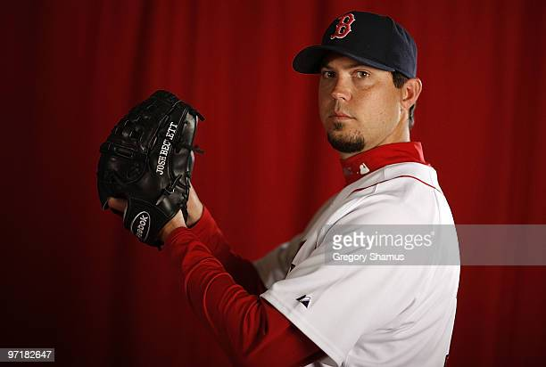 Josh Beckett of the Boston Red Sox poses during photo day at the Boston Red Sox Spring Training practice facility on February 28, 2010 in Ft. Myers,...