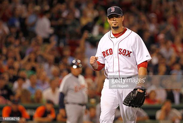 Josh Beckett of the Boston Red Sox reacts in the fifth inning against the Detroit Tigers at Fenway Park May 31, 2012 in Boston, Massachusetts.