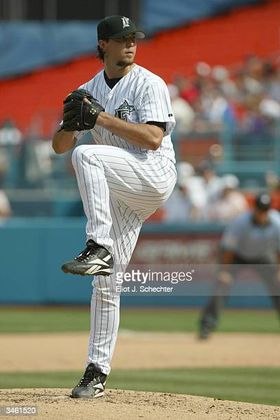 Josh Beckett of the Florida Marlins pitches during the game against the Philadelphia Phillies on April 11 2004 at Pro Player Stadium in Miami Florida...