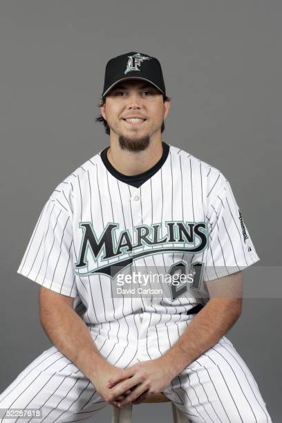 Josh Beckett of the Florida Marlins poses for a portrait during photo day at Roger Dean Stadium on February 26 2005 in Jupiter Florida