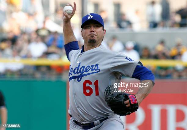 Josh Beckett of the Los Angeles Dodgers pitches in the first inning against the Pittsburgh Pirates during the game at PNC Park July 22, 2014 in...
