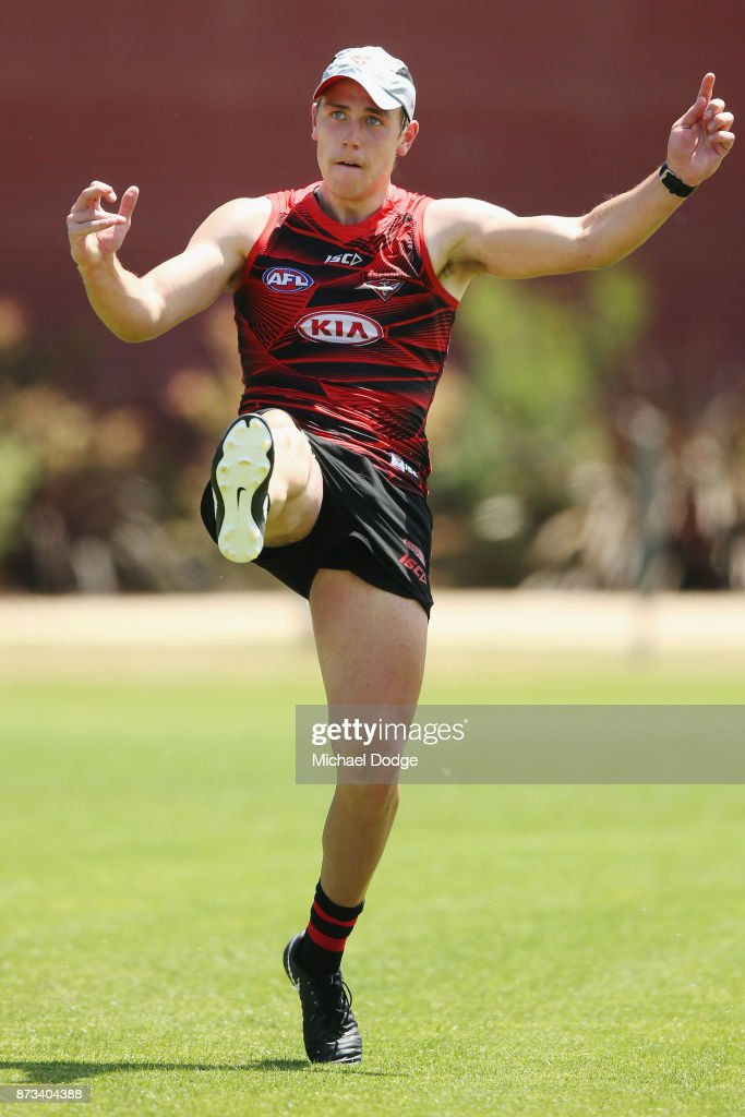 Josh Begley of the Bombers kicks the ball during an Essendon Bombers AFL training session at the Essendon Football Club on November 13, 2017 in Melbourne, Australia.