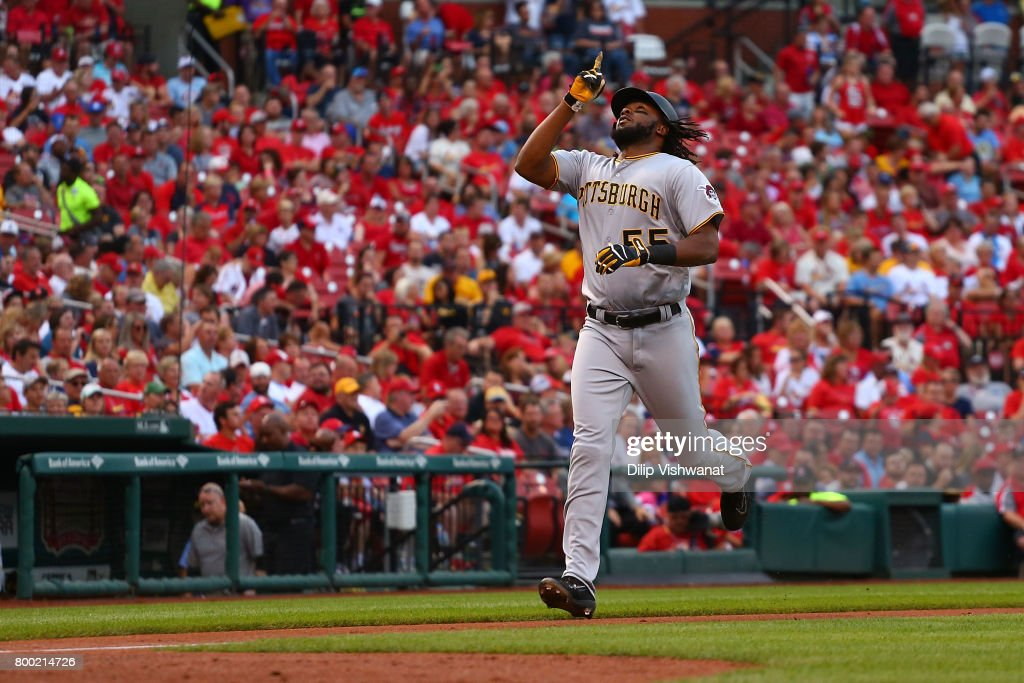 Josh Bell #55 of the Pittsburgh Pirates celebrates after hitting a solo home run against the St. Louis Cardinals in the second inning at Busch Stadium on June 23, 2017 in St. Louis, Missouri.