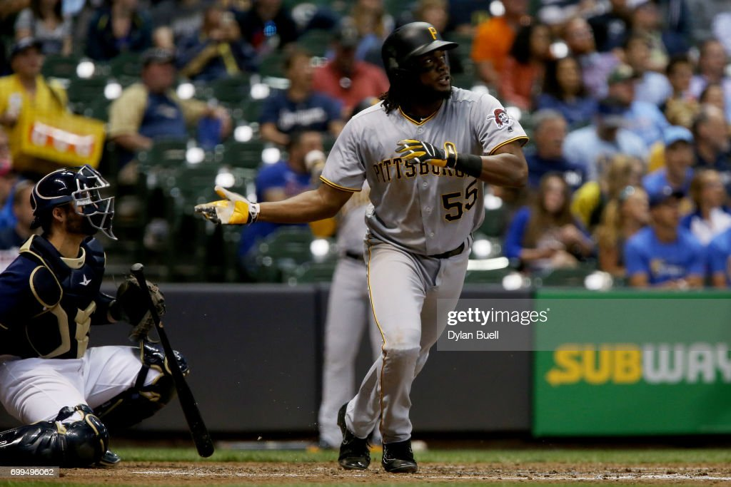 Josh Bell #55 of the Pittsburgh Pirates hits a home run in the sixth inning against the Milwaukee Brewers at Miller Park on June 21, 2017 in Milwaukee, Wisconsin.