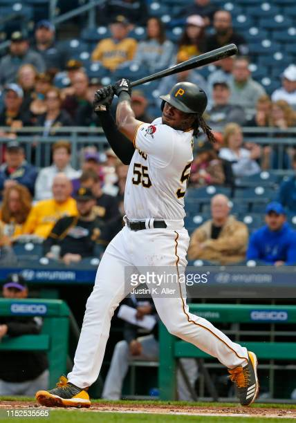Josh Bell of the Pittsburgh Pirates in action against the Colorado Rockies at PNC Park on May 21, 2019 in Pittsburgh, Pennsylvania.