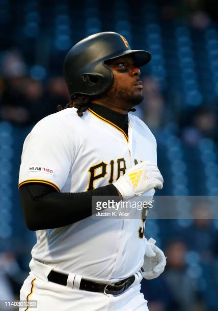 Josh Bell of the Pittsburgh Pirates in action against the St Louis Cardinals at PNC Park on April 3 2019 in Pittsburgh Pennsylvania