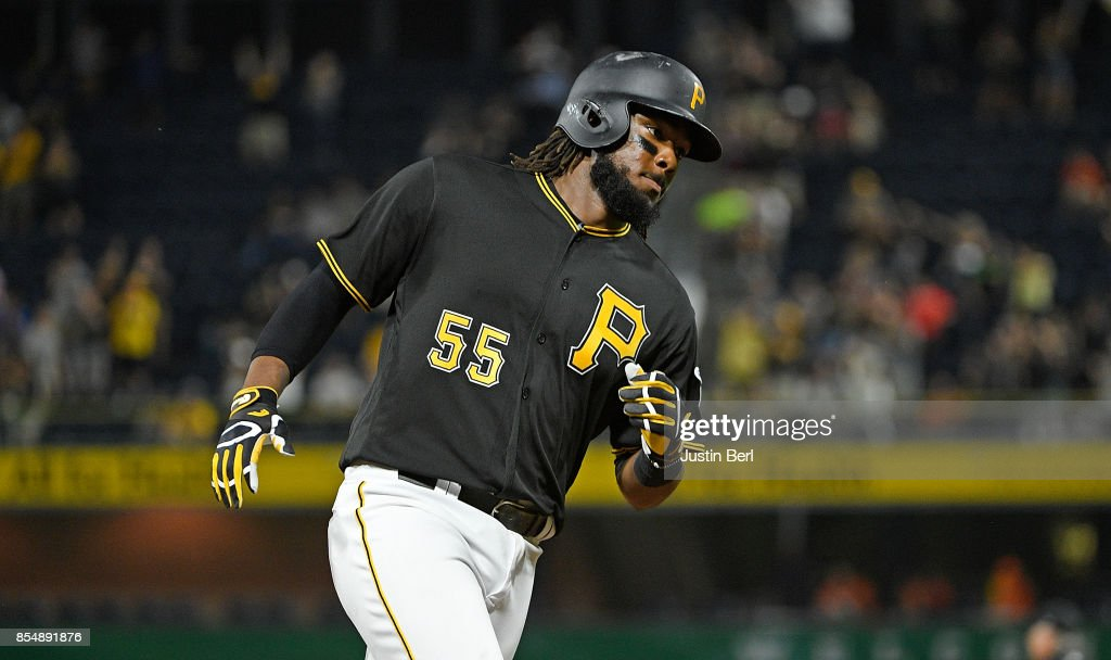 Josh Bell #55 of the Pittsburgh Pirates rounds the bases after hitting a two run home run in the third inning during the game against the Baltimore Orioles at PNC Park on September 27, 2017 in Pittsburgh, Pennsylvania.