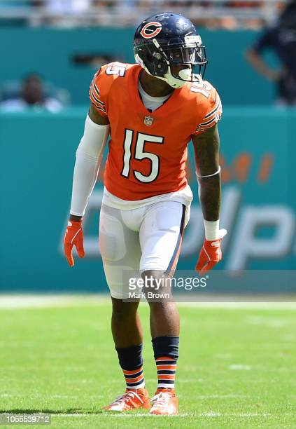 Josh Bellamy of the Chicago Bears in action against the Miami Dolphins at Hard Rock Stadium on October 14 2018 in Miami Florida