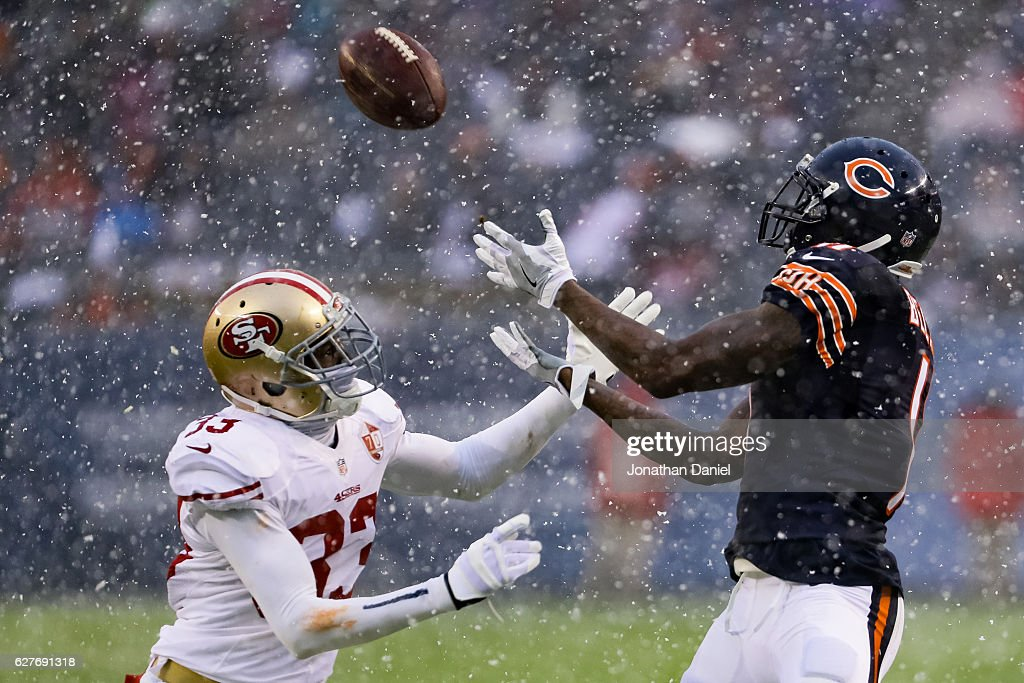 Josh Bellamy #11 of the Chicago Bears makes a catch against Rashard Robinson #33 of the San Francisco 49ers in the third quarter at Soldier Field on December 4, 2016 in Chicago, Illinois.