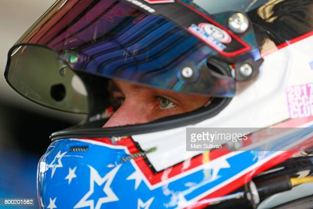 Josh Bilicki driver of the Marriott Drywall Materials Chevrolet sits in his car during practice for the Monster Energy NASCAR Cup Series Toyota/Save...