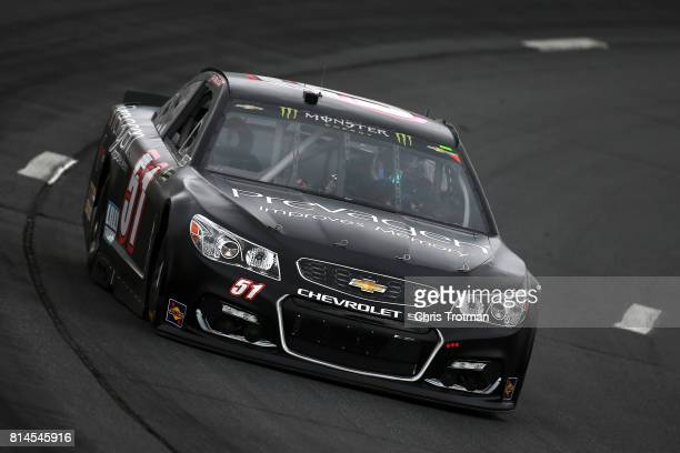 Josh Bilicki driver of the Prevagen Chevrolet practices for the Monster Energy NASCAR Cup Series Overton's 301 at New Hampshire Motor Speedway on...