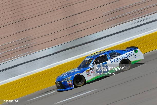Josh Bilicki driver of the Prevagen Toyota drives during practice for the NASCAR Xfinity Series DC Solar 300 at Las Vegas Motor Speedway on September...