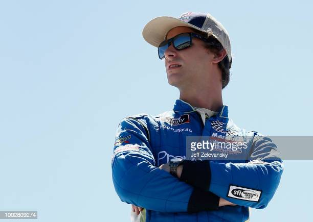Josh Bilicki driver of the Prevagen Toyota looks on during practice for the NASCAR Xfinity Series Lakes Region 200 at New Hampshire Motor Speedway on...
