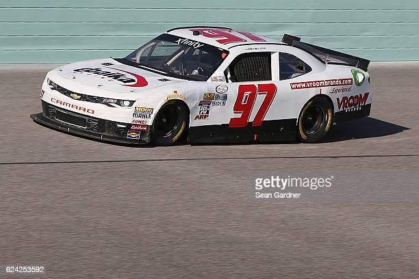 Josh Bilicki driver of the VroomBrands Chevrolet practices for the NASCAR XFINITY Series Ford EcoBoost 300 at HomesteadMiami Speedway on November 18...