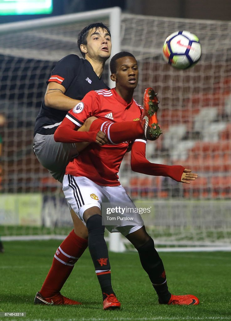 Josh Bohui of Manchester United U23s in action during the Premier League International Cup match between Manchester United U23s and Athletic Bilbao U23s at Leigh Sports Village on November 15, 2017 in Leigh, Greater Manchester.
