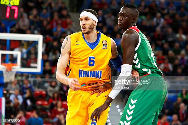 Josh Boone #6 of Khimki Moscow Region competes with Ilimane Diop #12 of Laboral Kutxa Vitoria Gasteiz during the 20152016 Turkish Airlines Euroleague...