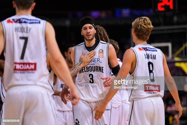 Josh Boone of Melbourne celebratres victorty during the round 12 NBL match between the Sydney Kings and Melbourne United at Qudos Bank Arena on...