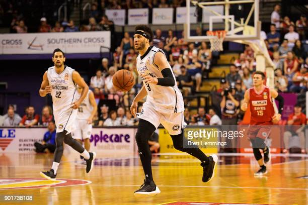 Josh Boone of Melbourne controls the ball during the round 13 NBL match between the Illawarra Hawks and Melbourne United at Wollongong Entertainment...