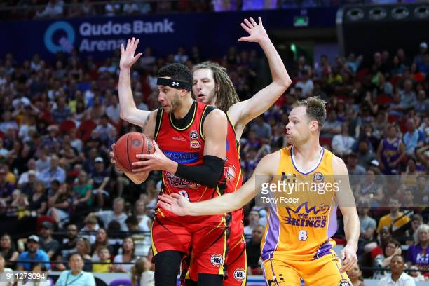 Josh Boone of Melbourne fights for control of the ball during the round 16 NBL match between the Sydney Kings and Melbourne United at Qudos Bank...