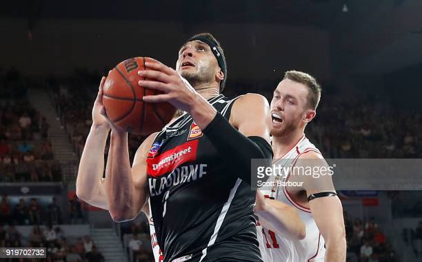 Josh Boone of Melbourne United drives to the basket during the round 19 NBL match between Melbourne United and the Illawarra Hawks at Hisense Arena...