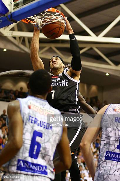 Josh Boone of Melbourne United dunks the ball during the round 13 NBL match between Melbourne and Adelaide on January 1 2017 in Melbourne Australia