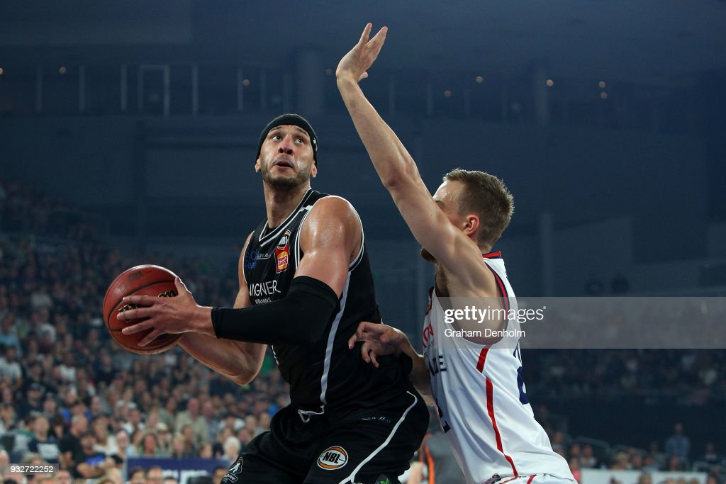 Josh Boone of Melbourne United (L) in action during game one of the NBL Grand Final series between Melbourne United and the Adelaide 36ers at Hisense Arena on March 16, 2018 in Melbourne, Australia.
