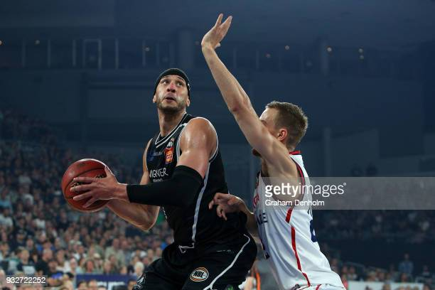 Josh Boone of Melbourne United in action during game one of the NBL Grand Final series between Melbourne United and the Adelaide 36ers at Hisense...