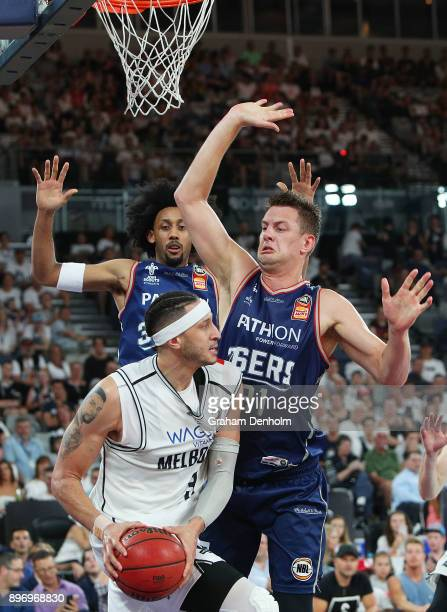 Josh Boone of Melbourne United looks for a way past the 36ers defence during the round 11 NBL match between Melbourne United and the Adelaide 36ers...