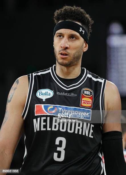 Josh Boone of Melbourne United looks to the bench during the round 12 NBL match between Melbourne United and the Brisbane Bullets at Hisense Arena on...