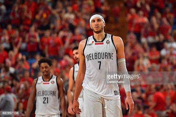 Josh Boone of Melbourne United reacts during the round 17 NBL match between the Perth Wildcats and Melbourne United at Perth Arena on January 28 2017...