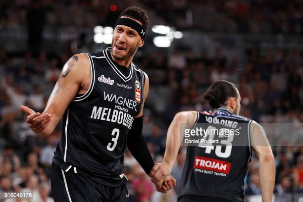 Josh Boone of Melbourne United reacts to the referee during the round 18 NBL match between Melbourne United and the New Zealand Breakers at Hisense...