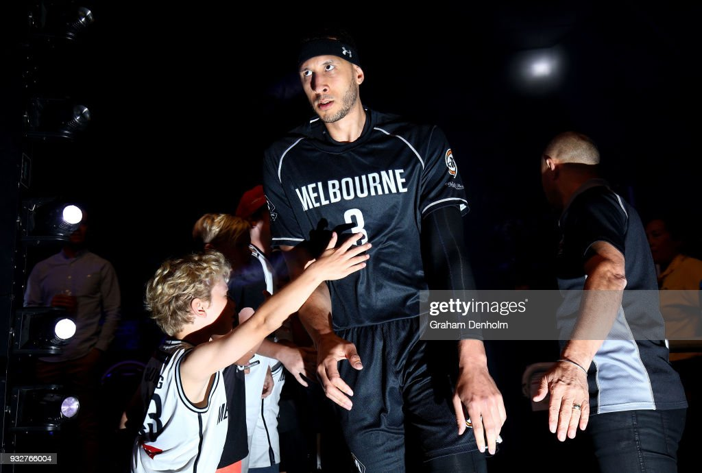 Josh Boone of Melbourne United runs out onto the court during game one of the NBL Grand Final series between Melbourne United and the Adelaide 36ers at Hisense Arena on March 16, 2018 in Melbourne, Australia.