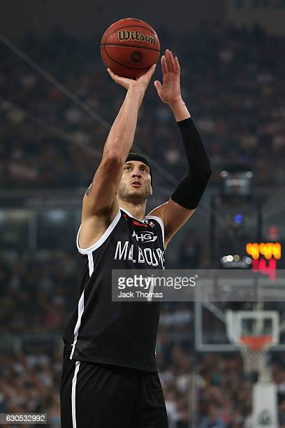Josh Boone of Melbourne United shoots a free throw during the round 12 NBL match between Melbourne and Brisbane at Hisense Arena on December 26 2016...