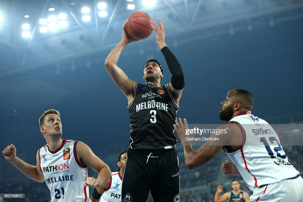 Josh Boone of Melbourne United (C) shoots during game one of the NBL Grand Final series between Melbourne United and the Adelaide 36ers at Hisense Arena on March 16, 2018 in Melbourne, Australia.