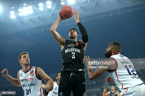 Josh Boone of Melbourne United shoots during game one of the NBL Grand Final series between Melbourne United and the Adelaide 36ers at Hisense Arena...