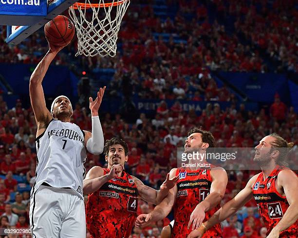 Josh Boone of Melbourne United shoots during the round 17 NBL match between the Perth Wildcats and Melbourne United at Perth Arena on January 28 2017...