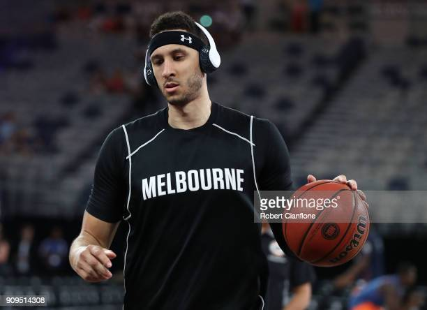 Josh Boone of Melbourne United warms up for the round 14 NBL match between Melbourne United and the Cairns Taipans at Hisense Arena on January 24...