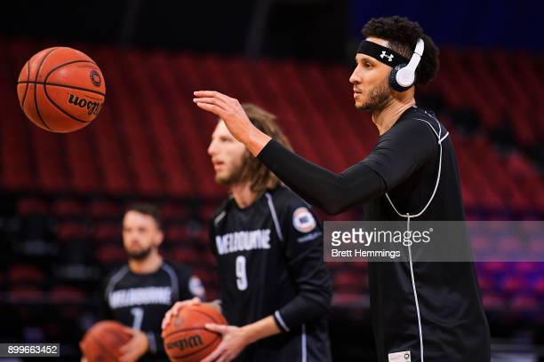 Josh Boone of Melbourne warms up during the round 12 NBL match between the Sydney Kings and Melbourne United at Qudos Bank Arena on December 30 2017...
