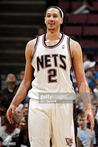 Josh Boone of the New Jersey Nets looks on during the game against the New Orleans Hornets at the IZOD Center on April 3 2010 in East Rutherford New...