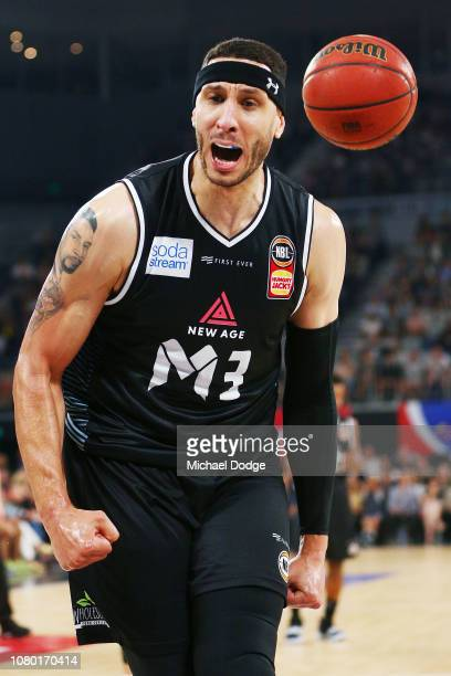 Josh Boone of United celebrates the basket during the round eight NBL match between Melbourne United and the Brisbane Bullets at Hisense Arena on...