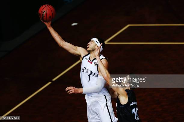 Josh Boone of United competes against Tom Abercrombie of the Breakers during the round 19 NBL match between the New Zealand Breakers and Melbourne...
