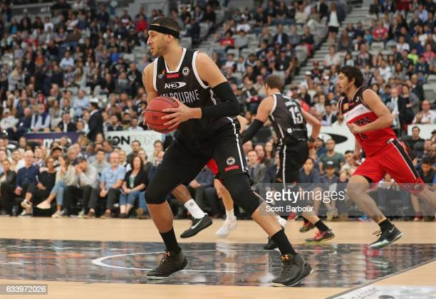 Josh Boone of United controls the ball during the round 18 NBL match between Melbourne United and the Illawarra Hawks at Hisense Arena on February 6...